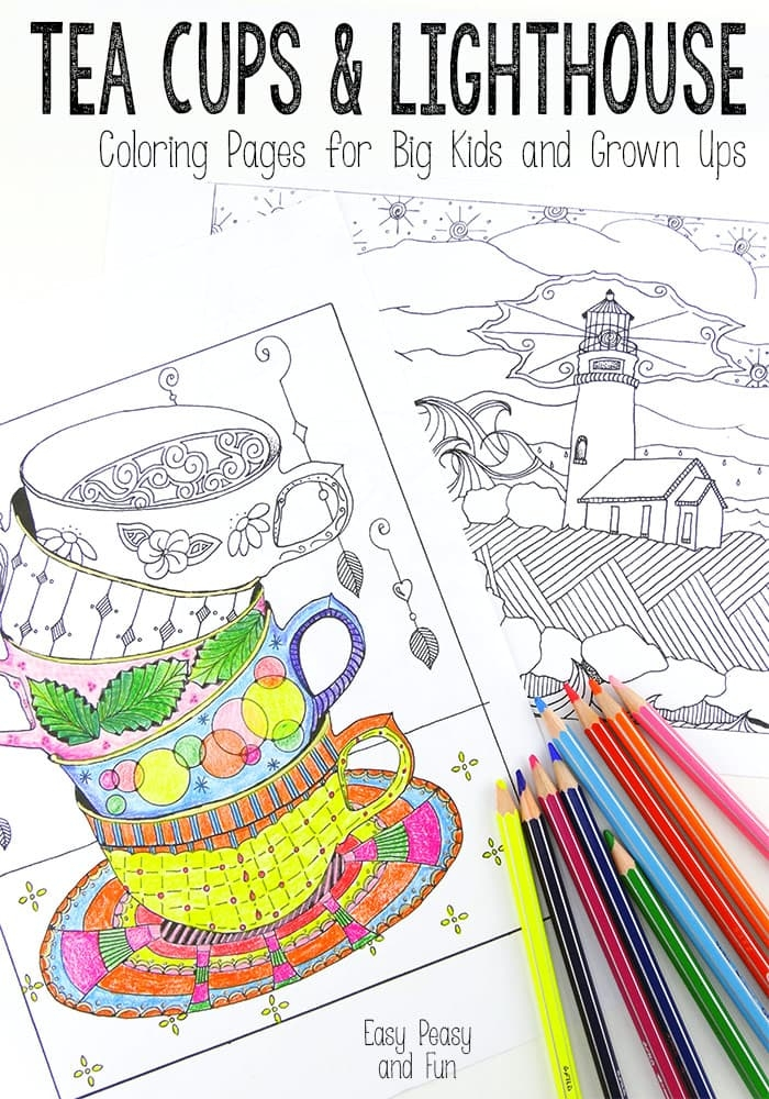 spring coloring pages for adults - tea cups and lighthouse coloring pages