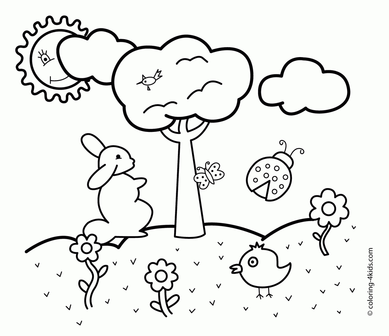 spring coloring pages printable - 3780