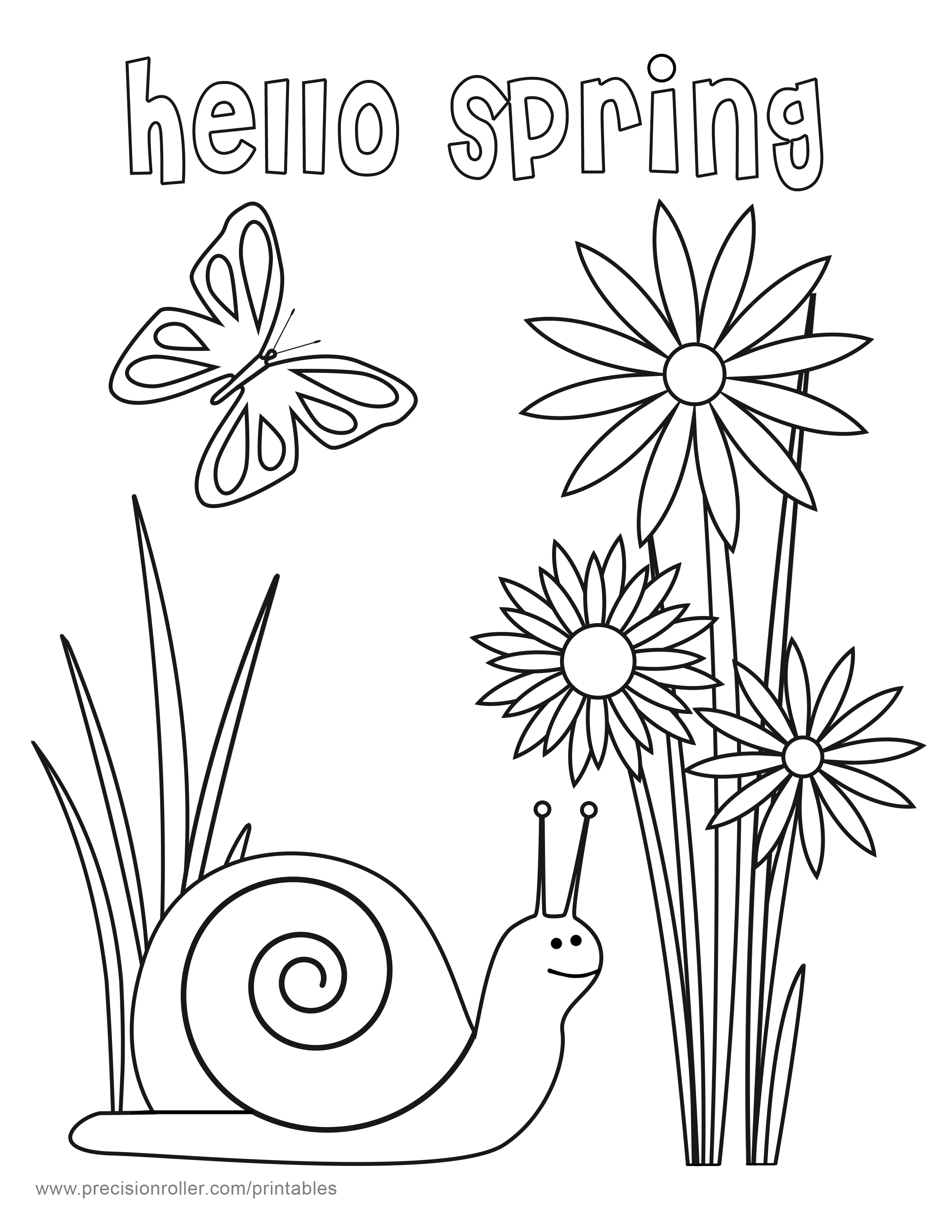 spring coloring pages printable - hello spring coloring page