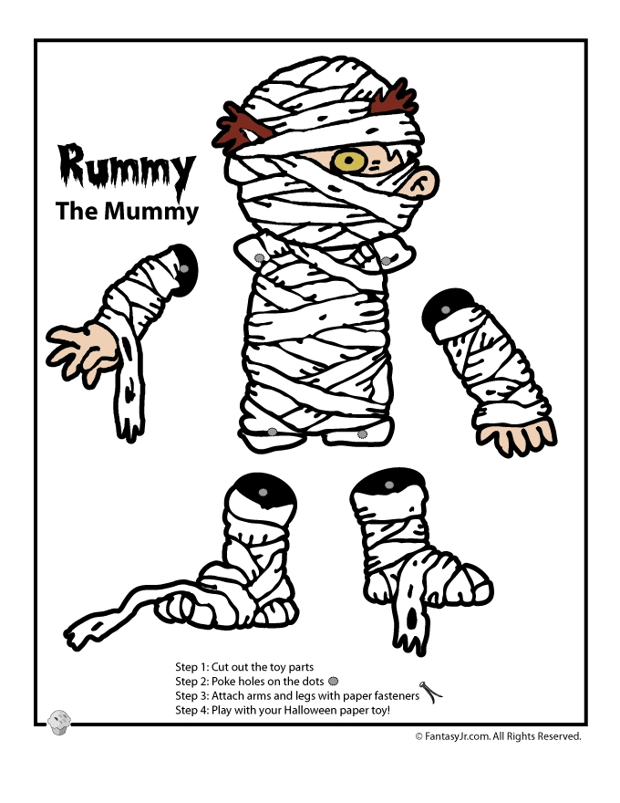 spring coloring pages - halloween paper toys