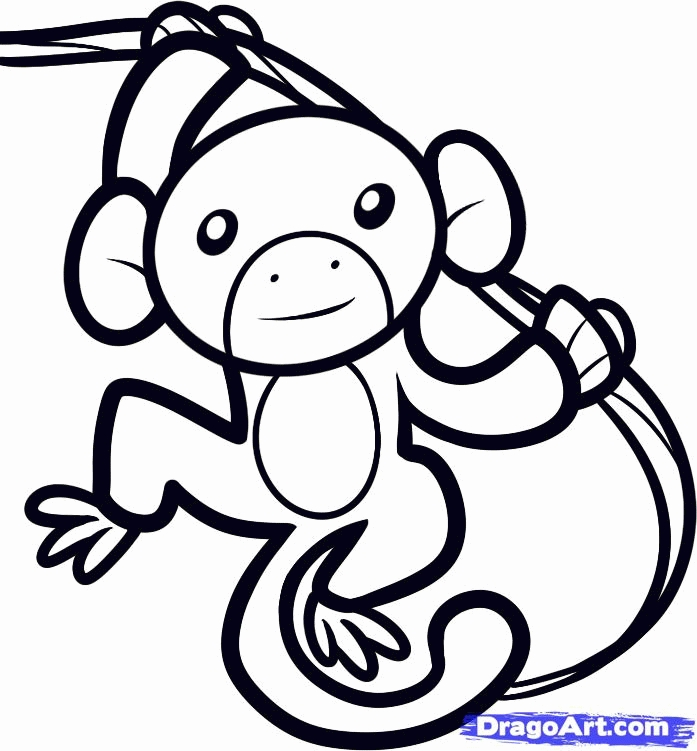 springtime coloring pages - monkey outline