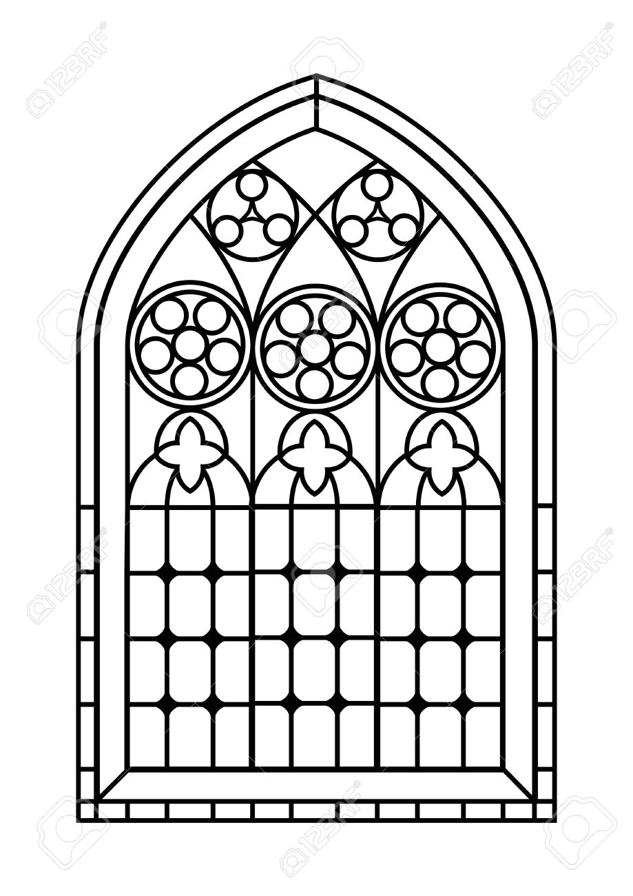stained glass coloring pages - how can i model gothic style windows