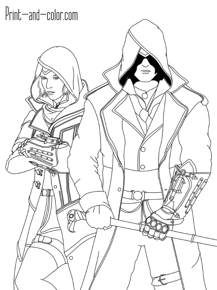 star coloring pages - assassins creed coloring pages