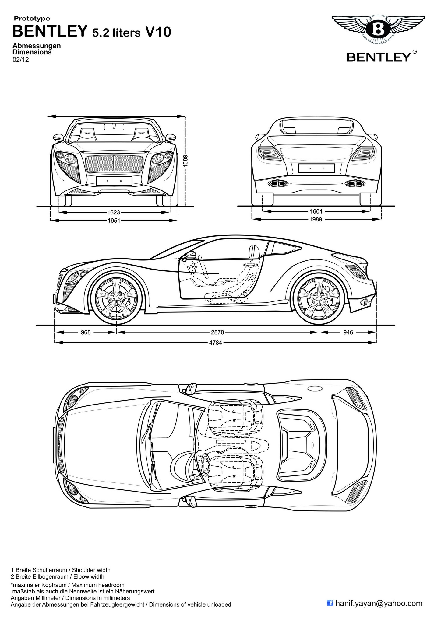 star trek coloring pages - Bentley V10 5 2L Concept Blueprints Design