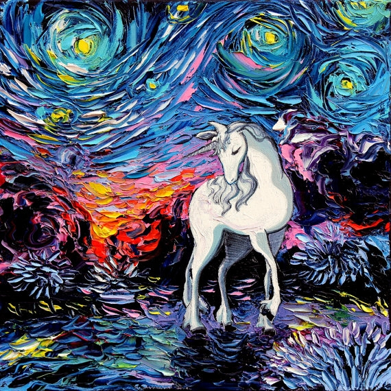 star trek coloring pages - last unicorn art starry night giclee