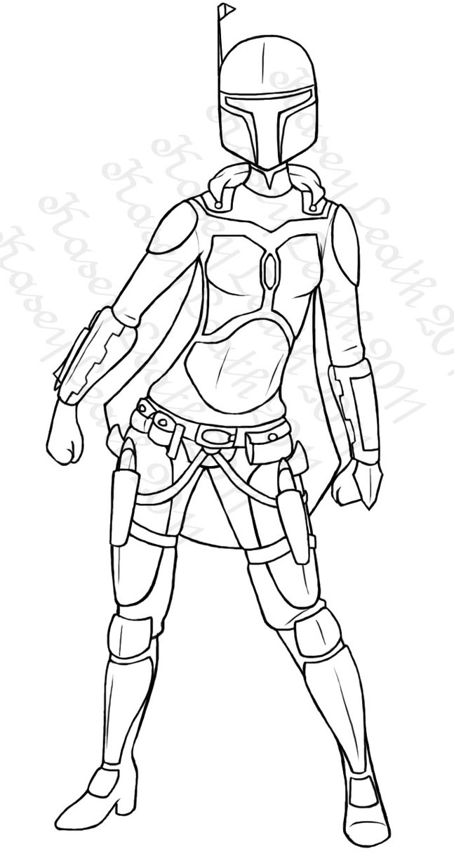 star wars clone wars coloring pages - Mandalorian Female Armor 1