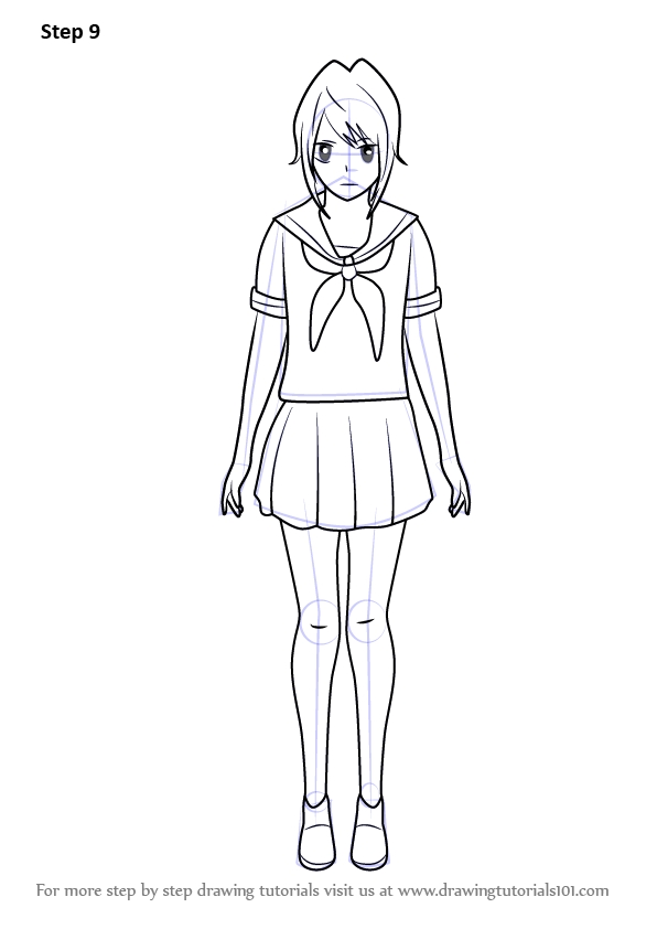 starfire coloring pages - how to draw yandere chan from yandere simulator