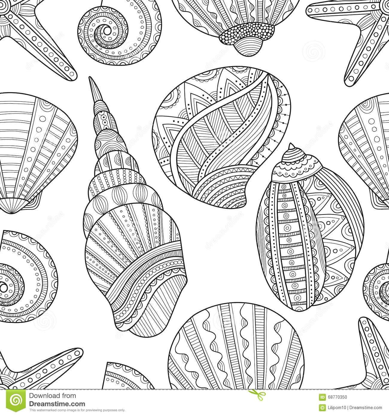 starfish coloring page - stock illustration seamless black white pattern seashells to coloring book sea shells pages vector illustration image