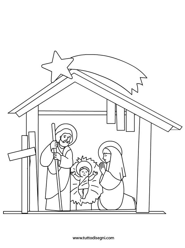 starry night coloring page - disegni natività