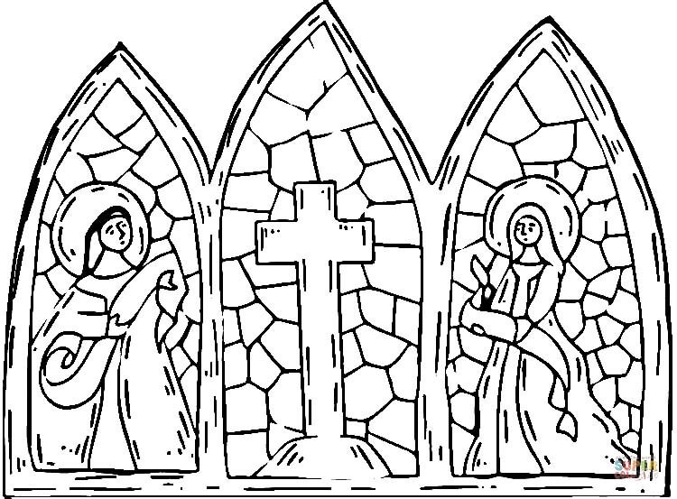 starry night coloring page - stained glass cross