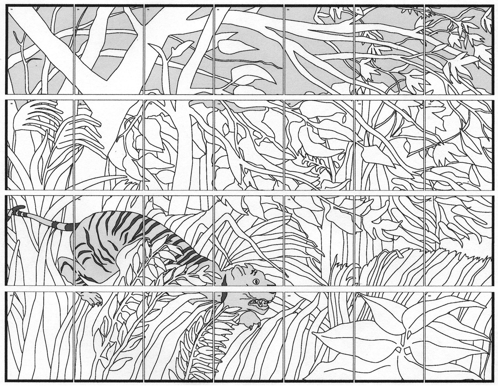 starry night coloring page - rousseau tiger mural