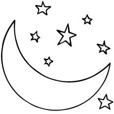 starry night coloring page - moon coloring pages for your toddler