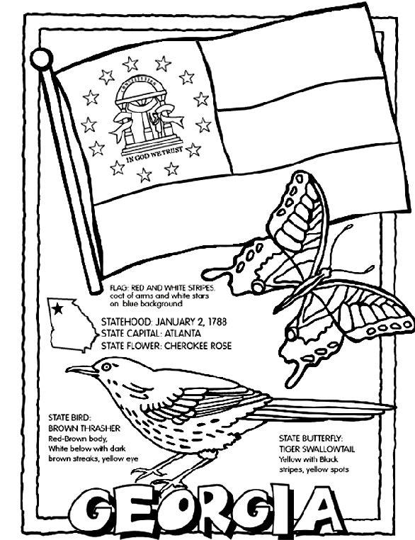 state coloring pages - georgia usstate coloring page