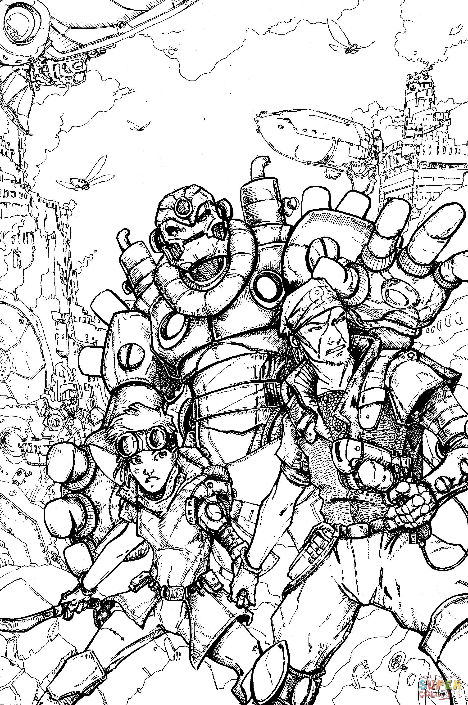 steampunk coloring pages - renegades steampunk by questing raven