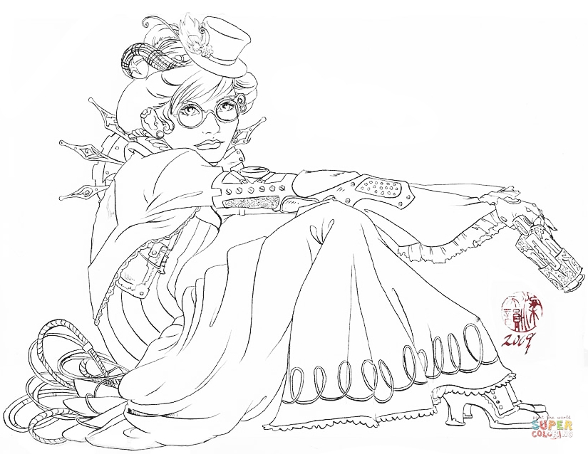 steampunk coloring pages - steampunk lady