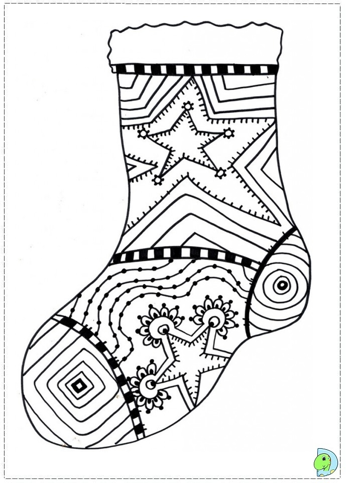 Stocking Coloring Page - Christmas Stockings Coloring Page Dinokids