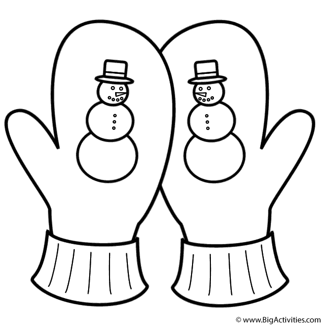 stocking coloring page - mittens3