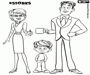 Storks Coloring Pages - the Gardner Family From Storks Coloring Page Printable Game