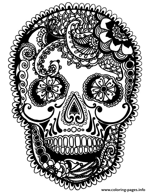 sugar skull coloring pages for adults -