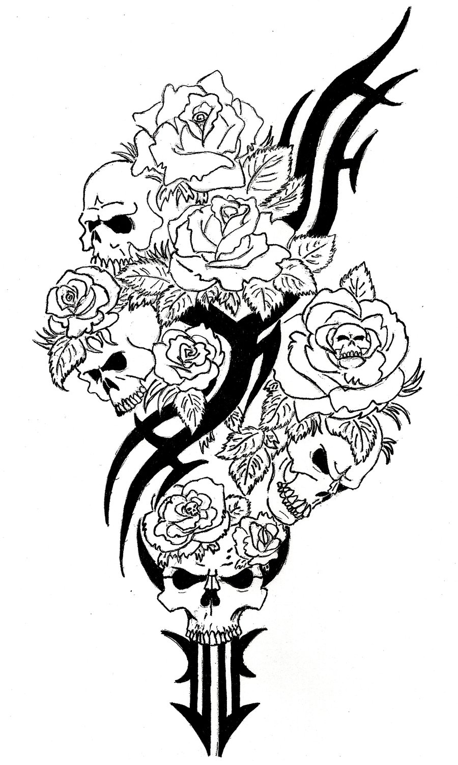 sugar skull coloring pages for adults - rose with skulls