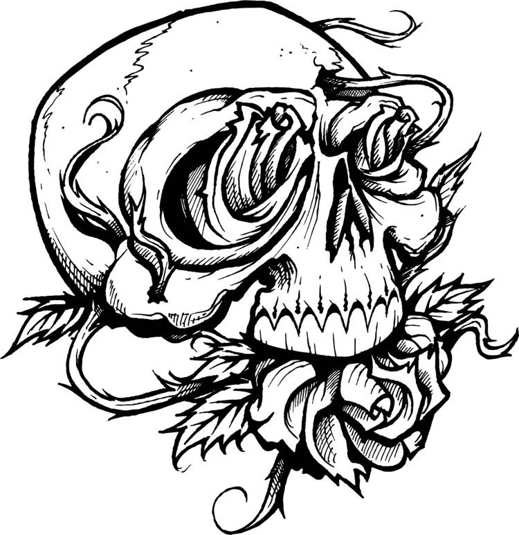 Sugar Skull Coloring Pages for Adults - Rosenranke Tattoo Bedeutung Ideen Und Vorlagen