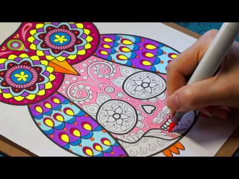 Sugar Skull Coloring Pages - Coloring An Owl Sugar Skull with Thaneeya