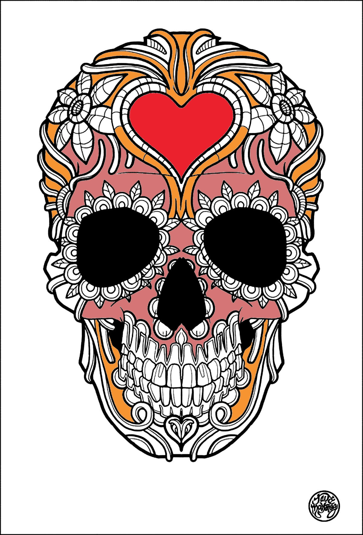sugar skull coloring pages - coloring tattoos