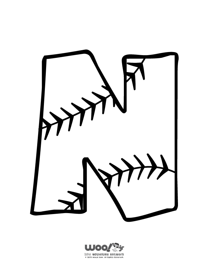 summer coloring pages - baseball alphabet n