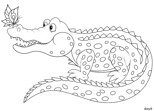 summer coloring pages - 932 crocodile
