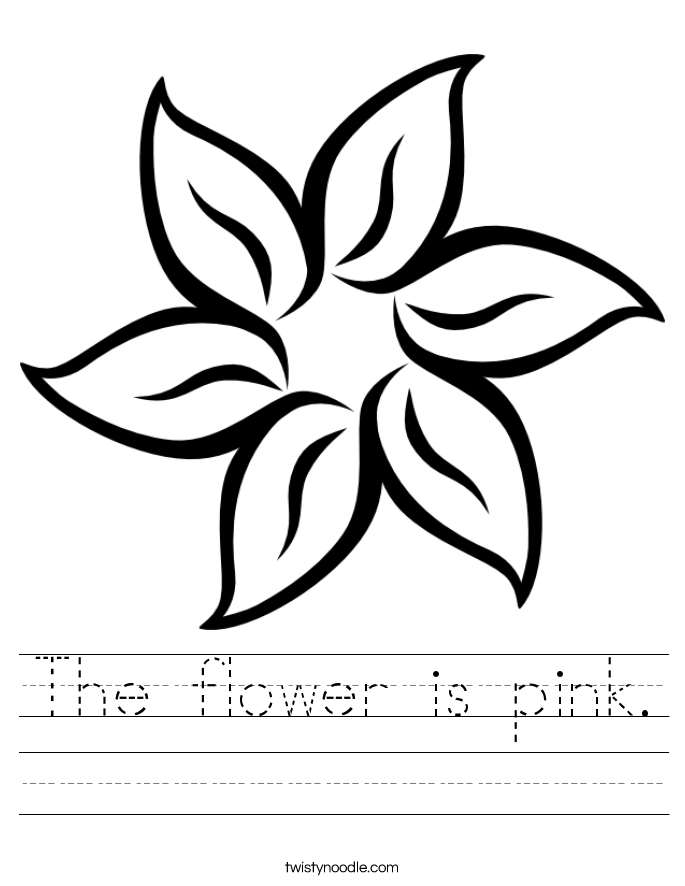 sunflower coloring page - the flower is pink 2 worksheet