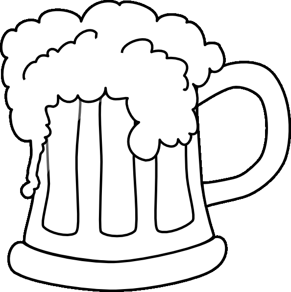 sunglasses coloring page - clipart beer mug outlined 1
