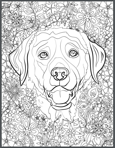 sunglasses coloring page - de stress with dogs 10 page printable coloring book for adults who love dogs instantly print