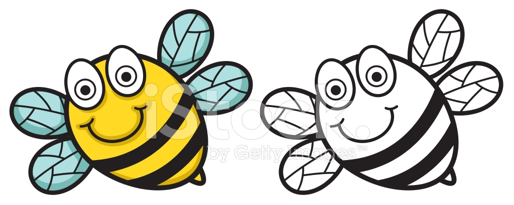 sunset coloring pages - colorful and black and white bee for coloring book