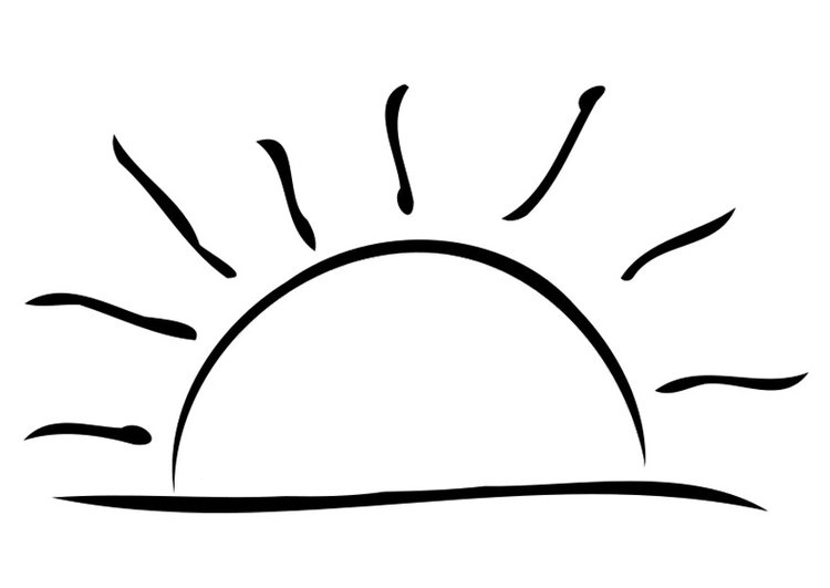 Sunset Coloring Pages - Malvorlage Untergehende sonne