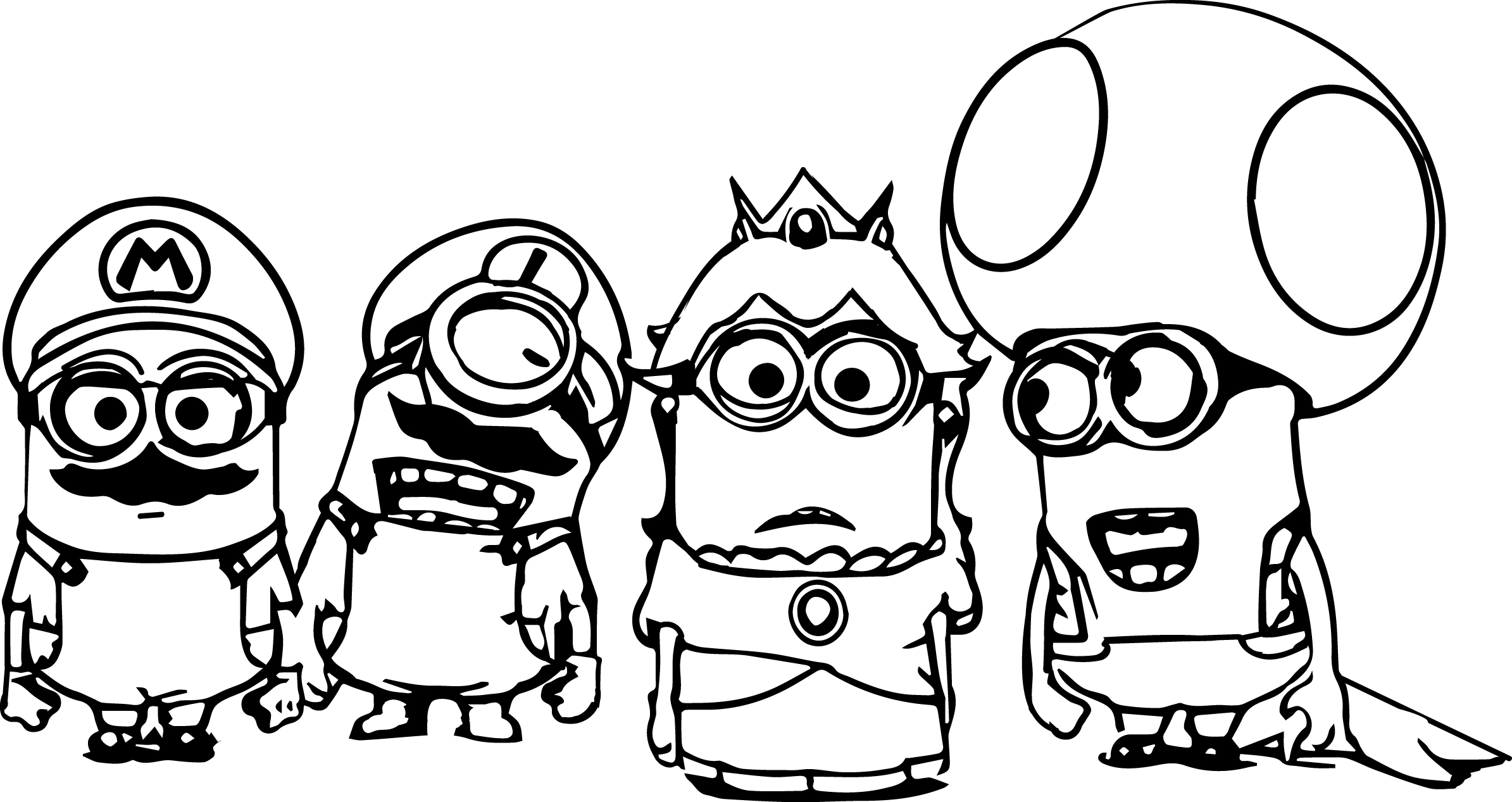 super coloring pages - super mario minions coloring page
