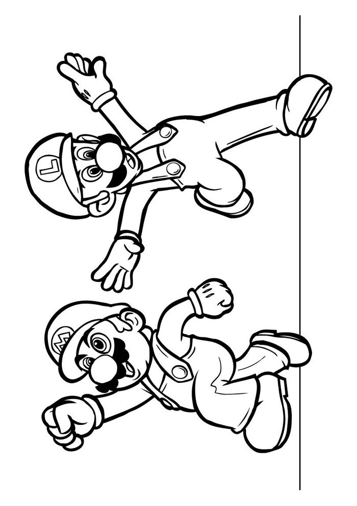 super mario bros coloring pages - mario bros mario en luigi