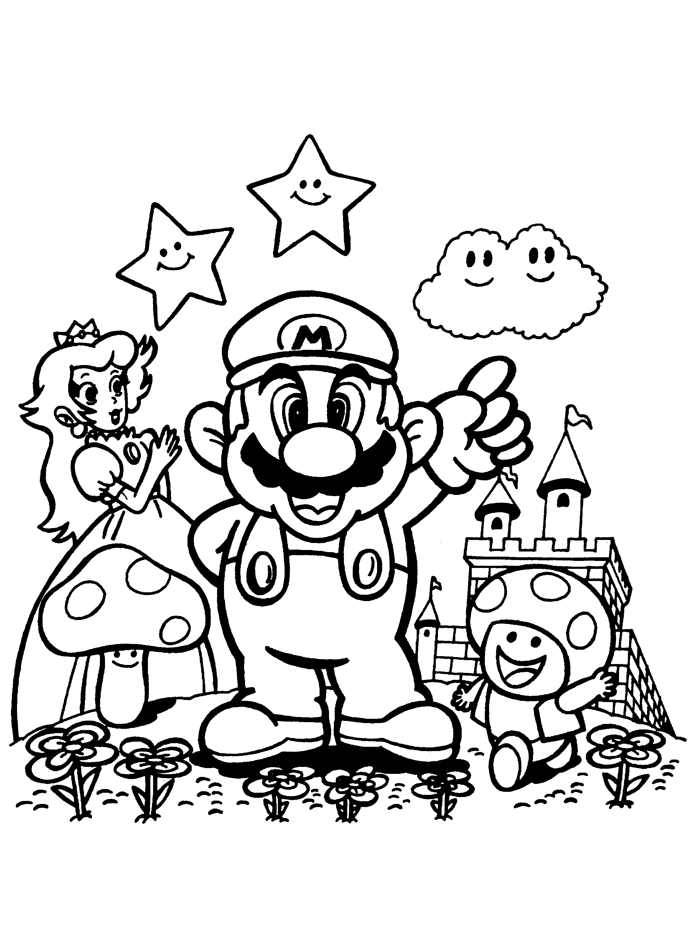 super mario brothers coloring pages - kleurplaat book=super mario bros 01&image=super mario bros 01 01 &oms=Prinses Paddestoel en Mario