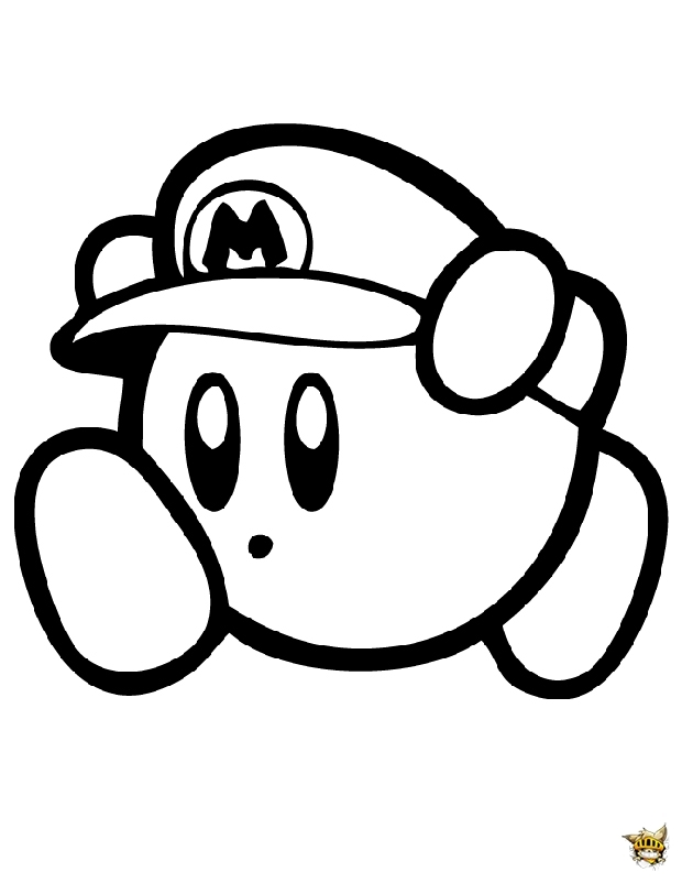 super smash bros coloring pages - kirby en mario