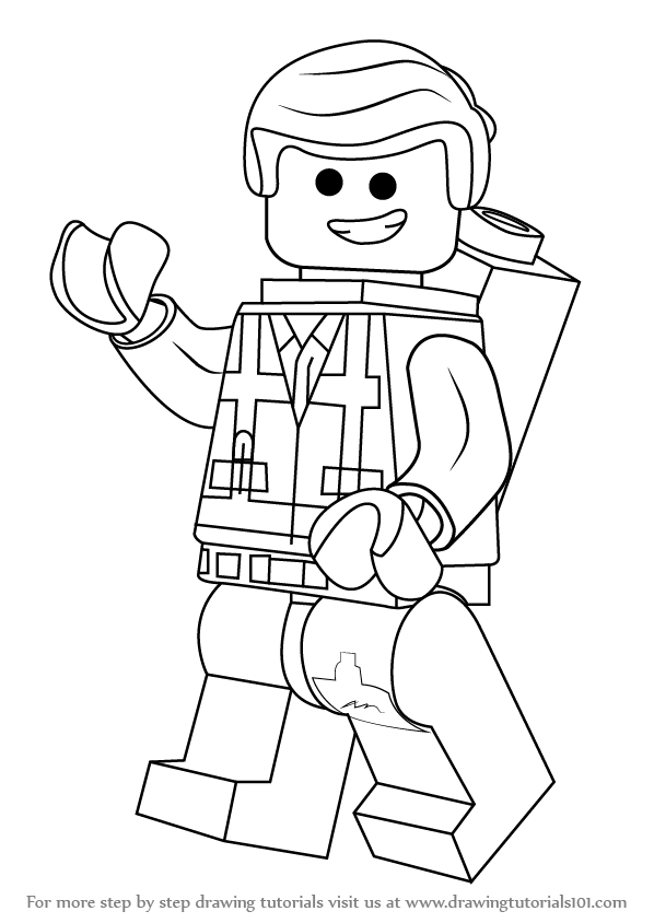 supergirl coloring page - how to draw emmet brickowski from the lego movie