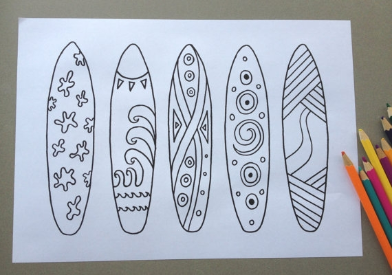 surfboard coloring page - surfboard design colouring page