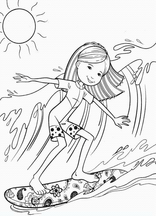 surfing coloring pages - q=surf board