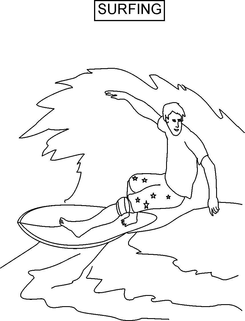 surfing coloring pages - 5551 Surfing coloring printable page for kids