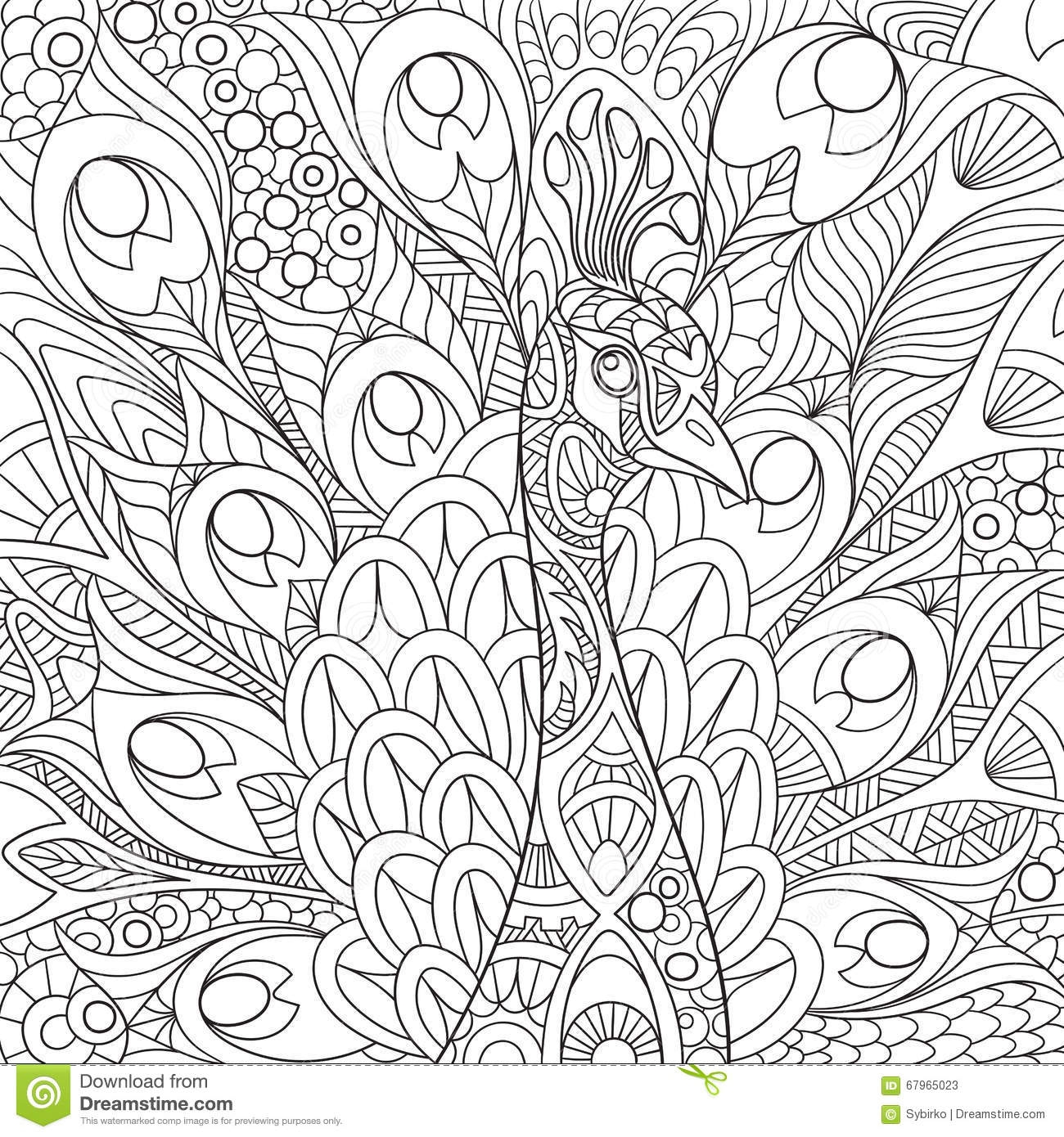 swear word coloring pages printable - stock illustration zentangle stylized peacock cartoon gorgeous feathers royal crown sketch adult antistress coloring page hand drawn image
