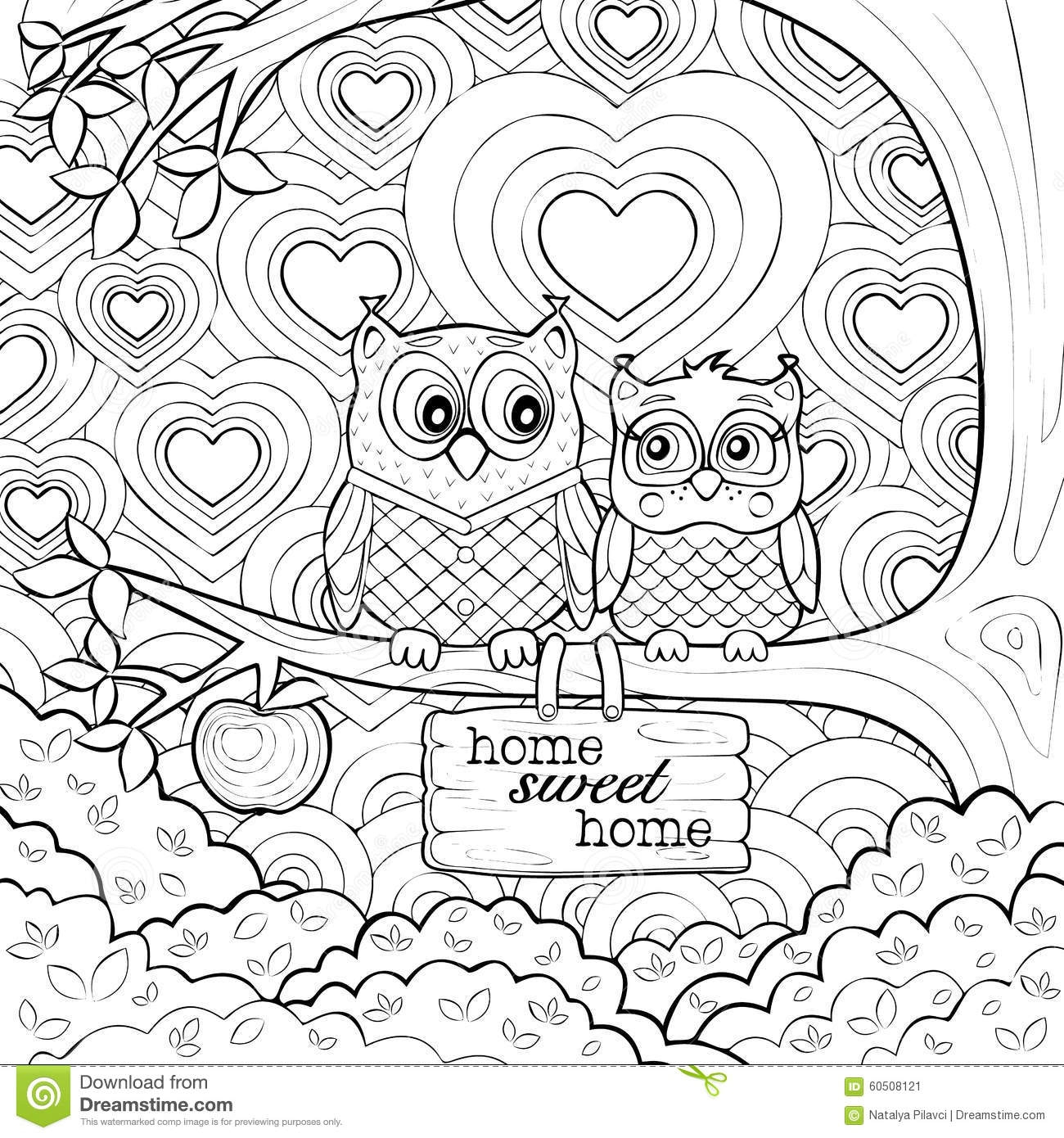 swear word coloring pages - stock illustration cute owls art therapy coloring page very picture two little looking each other pure love image