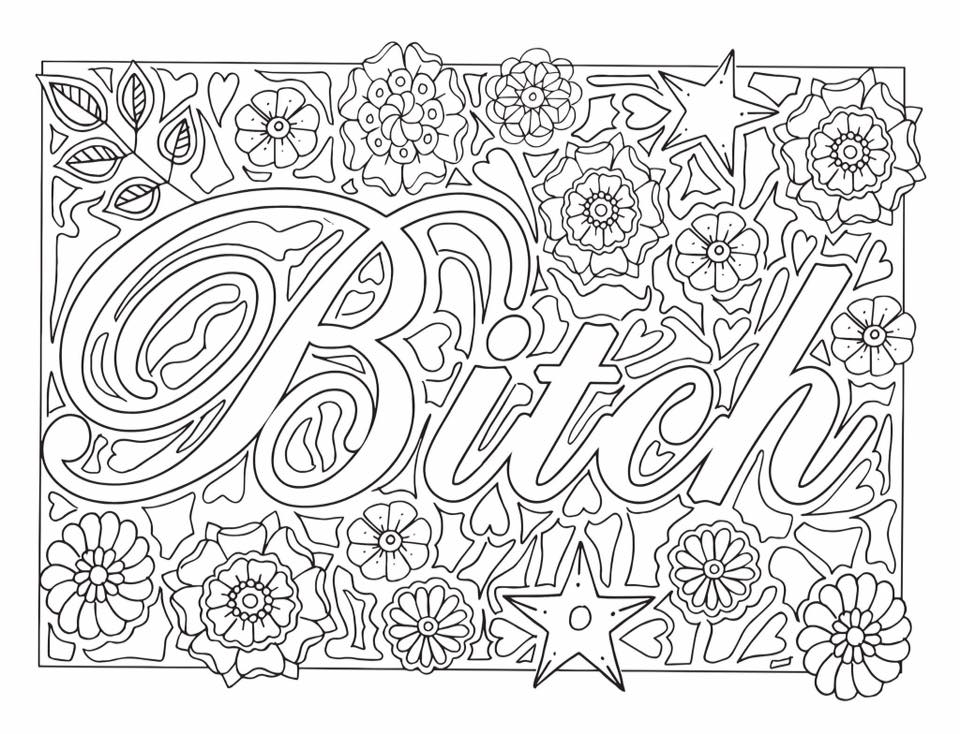 swear word coloring pages - sweary coloring book