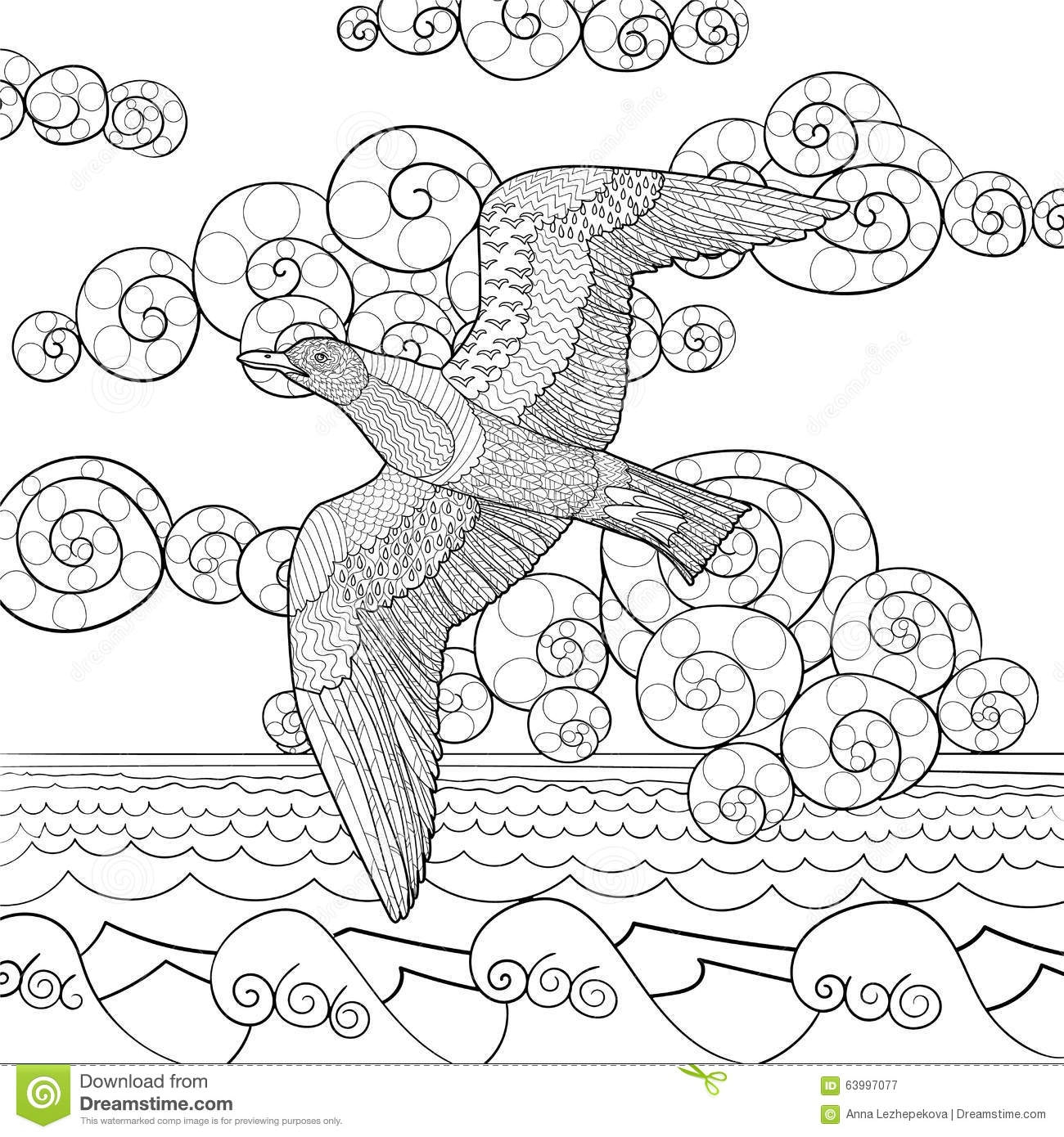 t shirt coloring page - stock illustration antistress coloring page seagull flying high details adult black white hand drawn doodle oceanic bird sketch tattoo image