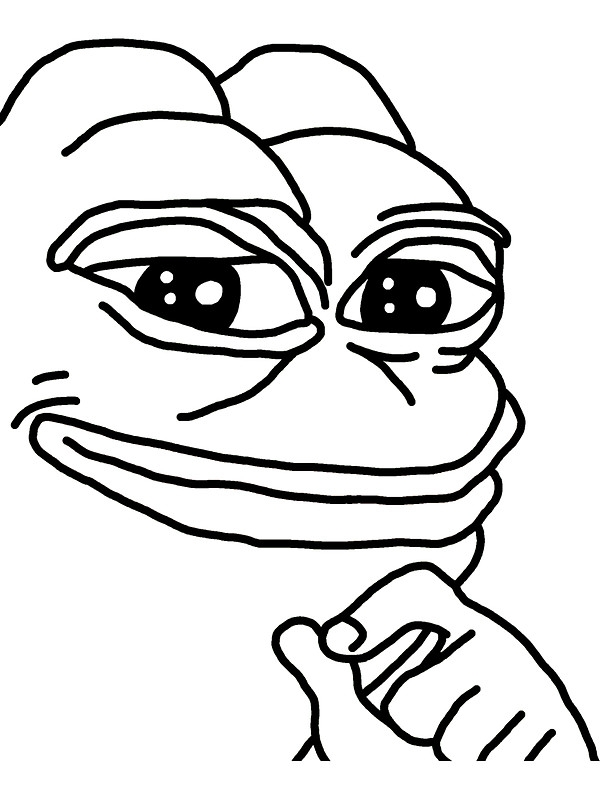 t shirt coloring page - smug pepe p=sticker