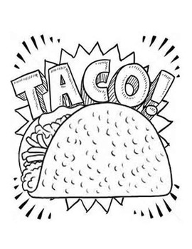 taco coloring page - Dragons Love Tacos Taco Coloring Page