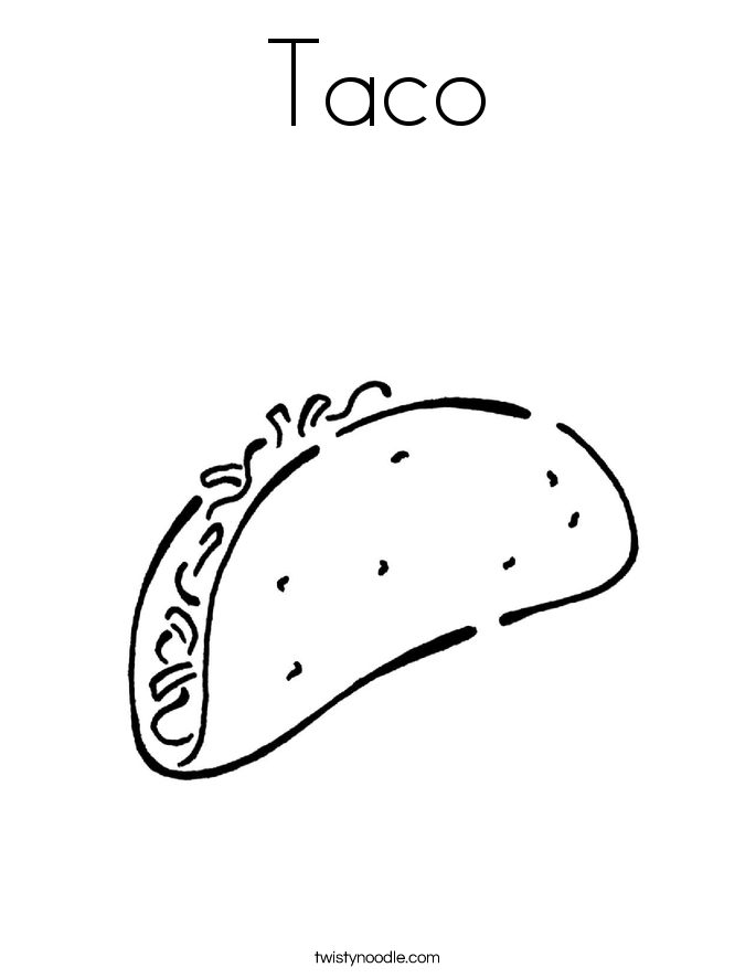 Taco Coloring Page - Taco Coloring Page Twisty Noodle