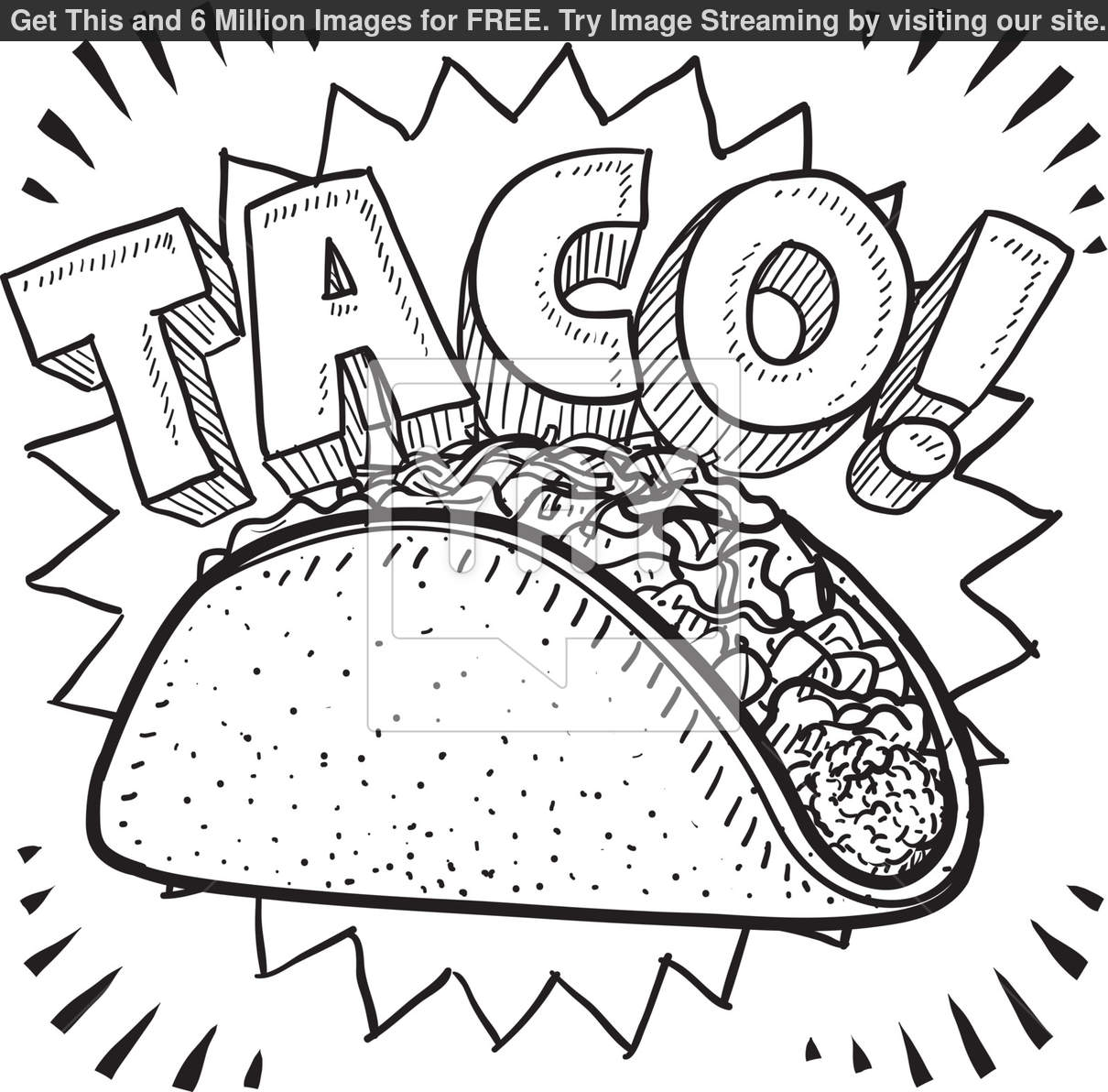 Taco coloring page taco coloring pages sketch templates